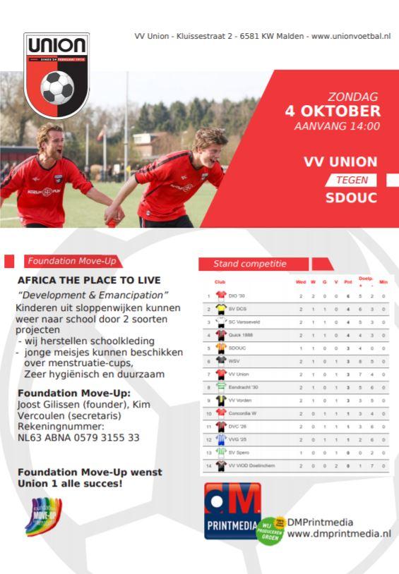 Zondag 4 oktober: Union 1 - SDOUC 1